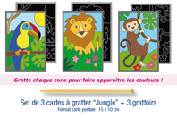 "Cartes à gratter ""Jungle"" + grattoirs - 3 cartes - Cartes à gratter - 10doigts.fr"