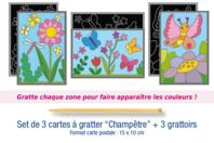 "Cartes à gratter ""Champêtre"" + grattoirs - 3 pièces - Cartes à gratter - 10doigts.fr"