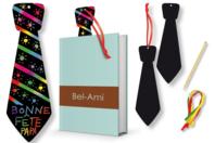 Cravates marque-pages en carte à gratter + 4 grattoirs - Lot de 4 - Cartes à gratter - 10doigts.fr