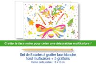 Cartes à gratter face blanche fond multicolore + grattoirs - 5 pcs - Cartes à gratter - 10doigts.fr