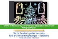 Cartes à gratter face noire fond argenté holographique + grattoirs - 5 pcs - Cartes à gratter - 10doigts.fr