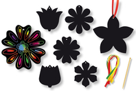 Fleurs en carte à gratter + 3 grattoirs + 6 rubans - Set de 6 - Cartes à gratter - 10doigts.fr