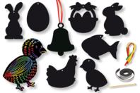 Cartes à gratter thème Pâques + accessoires - 8 formes - Carte à gratter - 10doigts.fr