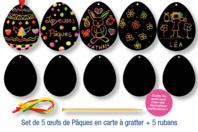 Cartes à gratter Oeufs de Pâques + accessoires - 5 formes - Oeufs - 10doigts.fr