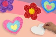 Cartes à sabler coeurs et fleurs - 6 cartes - Sable coloré - 10doigts.fr