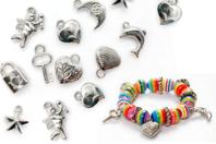 Perles charm's métallisé argenté - Set de 20 - Perles intercalaires & charm's - 10doigts.fr