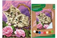 Tableau peinture au Numéro - Chatons - Peinture par numéros - 10doigts.fr