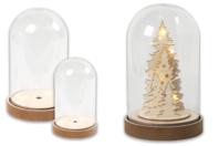 Cloche transparente avec socle en bois - Noël - 10doigts.fr