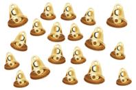 Clochettes métalliques dorées - Set de 30 - Grelots et clochettes - 10doigts.fr