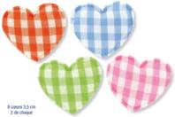 Coeurs en tissu molletonné vichy - 8 pièces - Motifs en tissu molletonné - 10doigts.fr