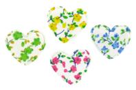 Coeurs en tissu molletonné fleuri - Set de 8 - Motifs en tissu molletonné - 10doigts.fr