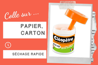 Pot de colle Cléopâtre avec spatule - Sans solvants - Colles scolaires - 10doigts.fr