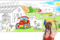Fresque géante à colorier - La ferme - Support pré-dessiné - 10doigts.fr