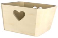 Corbeille carrée découpe-coeur en bois - Corbeilles et paniers - 10doigts.fr