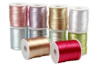 Cordons en satin couleurs pastel - 10 bobines de 50 m - Fils en Satin et queue de rat - 10doigts.fr