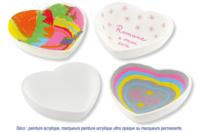 Coupelles coeur en terre cuite blanche - Lot de 4 - Céramique et Porcelaine - 10doigts.fr