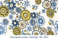 Coupon en coton imprimé : fleurs bleues et vertes + fond beige - Coton, lin - 10doigts.fr