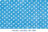 Coupon en coton imprimé : fond bleu + pois blancs - Coton, lin - 10doigts.fr