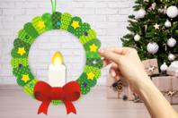 Kit couronne bougie de Noël en carte forte - Couronnes - 10doigts.fr