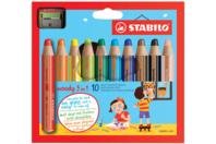 Crayons de couleurs 3 en 1 WOODY - 10 couleurs - Crayons de couleurs - 10doigts.fr