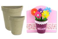 Demi-pots en carton papier maché - Pots, vases en carton - 10doigts.fr