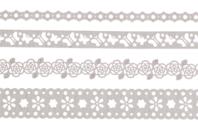 Dentelle adhésive en papier, Blanc printemps - Set de 4 rouleaux - Rubans adhésifs et Masking tape - 10doigts.fr