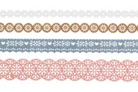 Dentelle adhésive en papier, Champêtre - Set de 4 rouleaux - Rubans adhésifs et Masking tape - 10doigts.fr