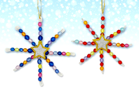 Kit fabrication suspensions Noël en perles - 12 flocons - Nouveautés - 10doigts.fr