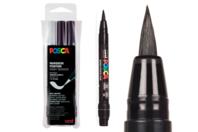 Marqueurs pinceaux Posca - 3 feutres noir & blanc - Marqueurs Posca - 10doigts.fr