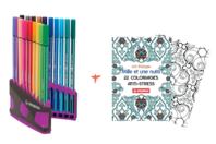 Feutres Stabilo Pen 68 + Cahier coloriage OFFERT - Feutres Fins - 10doigts.fr