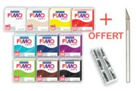 FIMO : Kit de 10 couleurs classiques + CADEAU - Fimo Soft - 10doigts.fr