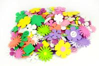 Stickers fleurs en caoutchouc mousse - 400 pièces - Fleurs et feuilles - 10doigts.fr