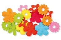 Fleurs en tissu gauffré - 16 pièces - Fleurs et feuilles - 10doigts.fr
