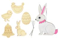 Formes de Pâques en bois gravé - Set de 5 - Kits activités Pâques - 10doigts.fr