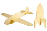 Fusée et avion en bois - Set de 2 - Divers - 10doigts.fr