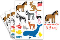 Maxi Gommettes animaux 2 - 4 Planches - Gommettes Animaux - 10doigts.fr