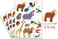 Maxi Gommettes animaux 3 - 4 Planches - Gommettes Animaux - 10doigts.fr