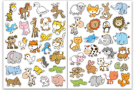 Gommettes animaux rigolos 2 - 2 planches - Gommettes Animaux - 10doigts.fr