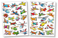 Gommettes avions - 2 planches - Voyages - 10doigts.fr