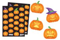 Gommettes Halloween citrouilles - Set de 44 gommettes - Cartes et Stickers - 10doigts.fr