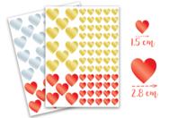 Gommettes coeurs métallisés -  2 planches - Coeurs autocollants - 10doigts.fr