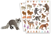 Stickers animaux de la forêt réaliste - 80 stickers - Gommettes Animaux - 10doigts.fr