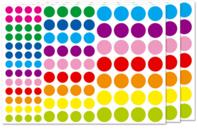 Gommettes rondes vives - 3 planches - Toutes les gommettes géométriques - 10doigts.fr