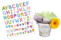 Gommettes Lettres alphabet - 73 pièces - Gommettes Alphabet, messages - 10doigts.fr