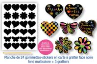 Stickers en carte à gratter thème romantique - 24 pcs - Carte à gratter - 10doigts.fr