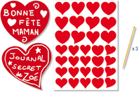 Stickers coeurs rouges à gratter - 32 pcs - Cartes à gratter - 10doigts.fr