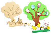 Kit grand arbre de pâques + accessoires à poser sur socle - Kits activités Pâques - 10doigts.fr