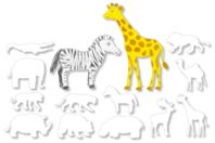 Grandes formes d'animaux d'Afrique à colorier - Set de 12 - Support blanc - 10doigts.fr