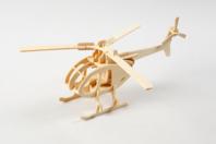 Hélicoptère 3D en bois naturel à monter - Divers - 10doigts.fr