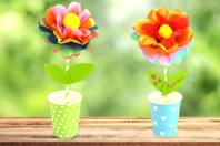 Kit création de fleurs en papier de soie - 12 réalisations - Kits créatifs prêt à l'emploi - 10doigts.fr